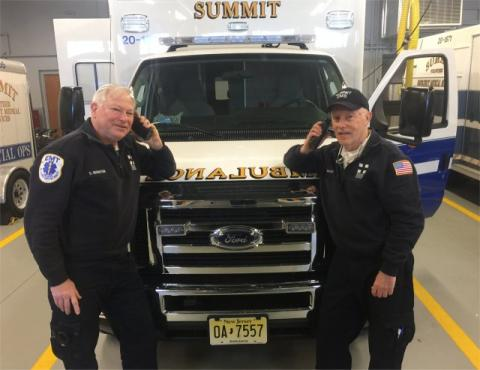 EMS Volunteers Dave Bernstein and Rob Mendes using new digital radios